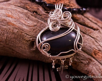 Rainbow Obsidian Wire Wrapped Necklace