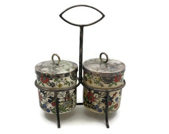 Asian Inspired Condiment Set - Silver Plated Caddy, Covered Jars, Porcelain, Polychrome