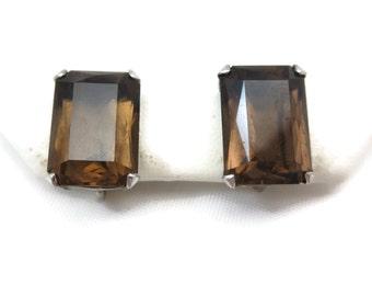 Smoky Quartz Earrings - Sterling Silver, Screw Backs, Minimalist