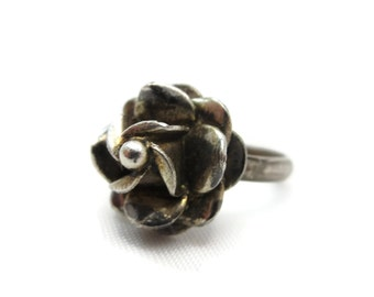 Silver Flower Ring - Boho Jewelry, Sterling, Festival Statement Ring, Mexico Silver Jewelry