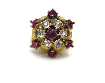 Pink Statement Ring - Gold over Sterling Silver, Pink and Clear Glass Stones, Vermeil