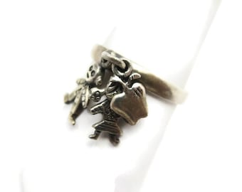 Sterling Charm Ring - Teacher's Gift, Boy Girl Apple, School Theme, Silver Jewelry