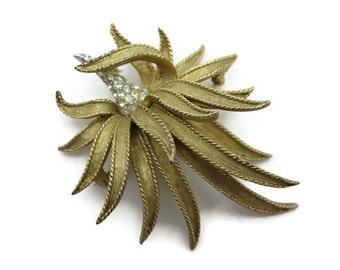 Vintage Boucher Brooch - Gold Flower, Rhinestones 1960s Costume Jewelry