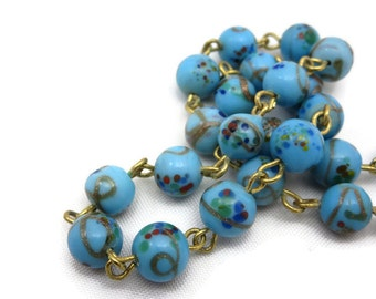 Venetian Glass Bead Necklace - Robins Egg Blue Aventurine