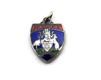 Silver Enamel Australia Souvenir Charm - Travel, Hobart Coat of Arms Shield