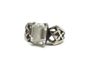 Cubic Zirconia Engagement Ring - Sterling Silver, Emerald Cut, Size 6