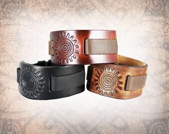 Tribal Sun Knot Leather Watch Cuff, Leather Watch Strap, Watch Band, Brown Watch Cuff, Men's Watch Cuff - Custom to You (1 cuff only)