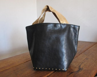 Hand Stitched Simple Leather Tote Bag - Black x Rustic Gold x Polka Dots -