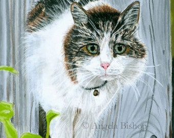 Cat Painting Print, A Visitor, Cat Print, Art Print, Reproduction, Cat, Pet, 5 x 7, Realism, Giclee, Pastel, Painting, Fine Art