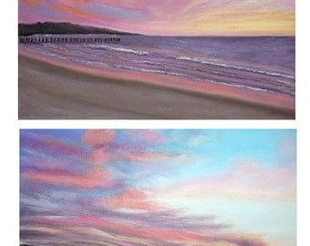 Set of 2 Sunset Painting Prints, Sunset Painting Print, Art Print, Pastel, Home Decor, Giclee, 8 x 10, Seascape, Sunset, Ocean