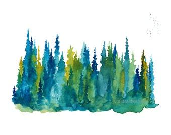 Treeline 1 - Watercolor Art Print - pine trees, forest, evening, treeline, nature, north woods