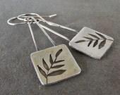 Rustic Dangle Fern Artisan Handmade Metalwork Sterling Silver OOAK Earrings.