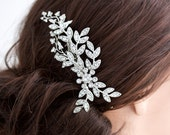 Wedding Hair Accessory Crystal Leaf Comb Rhinestone Silver Vine Bridal Hair Comb White Ivory Pearl NEVE
