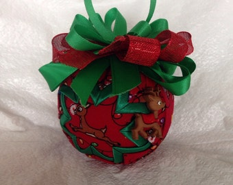 Reindeer Quilted Star Christmas Ornament  Hostess Gift, Teacher Gift, Stocking Stuffer, Secret Santa