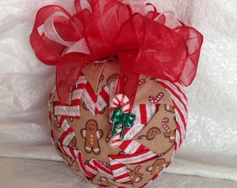 Candy Cane and Gingerbread Man Quilted Star Christmas Ornament