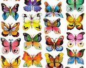 Self Adhesive Petite Butterflies Stickers 1 Sheet Colorful Scrapbooking Stickers  Number 121