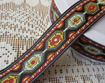 3 Yards Woven Folkloric Costume Traditional Jacquard Trim Ribbon Red Black