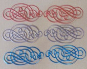 6 Small Foil Flourish Die Cuts Made With Anna Griffin Dies 2 by 4 Inches Metallic Card Stock Most Are Jewel Tones