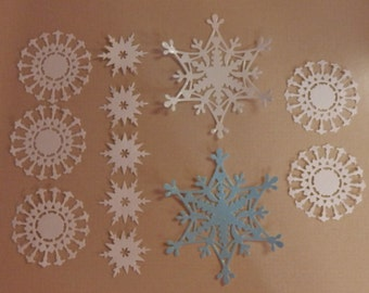 12 Snowflake Die Cuts Made With Anna Griffin Dies White and Lt Blue Glitter Cardstock in 3 Sizes