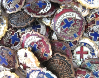 31 small vintage enameled Sunday School pins for your art projects