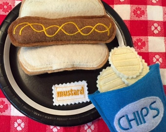 Felt Food Hot Dog Set with Mustard or Ketchup Packet and Bag of Chips 10 Piece Set Felt Play Food