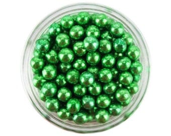 Green Dragees 1oz - shiny metallic green sugar pearls sprinkles balls for topping cakes, cupcakes, cookies, and cake pops