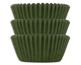 Olive Green Baking Cups - 50 solid dark paper cupcake liners