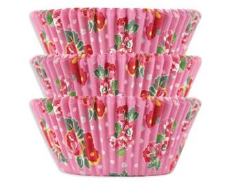 Pink Tea Rose Baking Cups - 50 pink floral cupcake liners