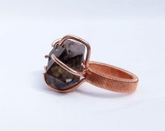 Crystal ring, raw stone ring, Smoky Quartz ring, natural crystal, copper ring, ring size 6