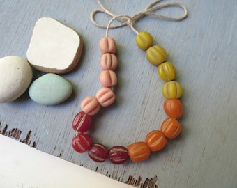 melon round  glass beads mix ,  lampwork beads, wavy rustic beads , gritty aged look , indonesian  -  8 to 9mm  / 16 pcs - 6a8