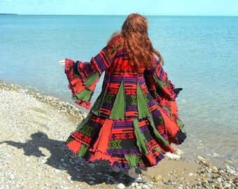 Santa Fe 2X Wool Free Hoodless frankensweater upcycled recycled gypsy coat