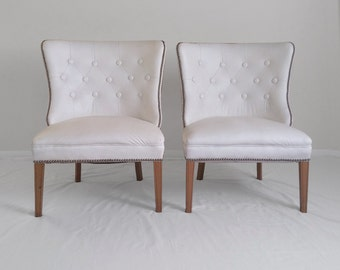 2 HOLLYWOOD regency faux white leather button tufted nail head slipper chairs