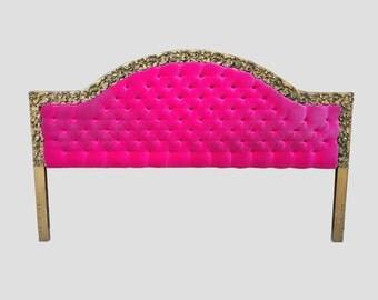 hollywood regency tufted PINK velvet & GOLD carved headboard