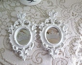 Shabby Pair of  Romantic Chic Ornate Small Ornate Italy Hanging Wall Mirror ~Faux Rhinestone Crown ~ White Distressed