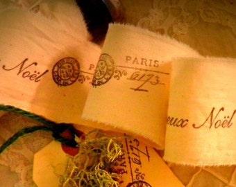 French Holiday Trim - Hand Stamped Ribbon - Joyeux Noel -  Paris Postage