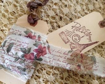 4 Yards X 1 Inch - French hand stamped ribbon - Hand stamped using Sepia ink on vintage rose fabric - Narrow ribbon - French shabby