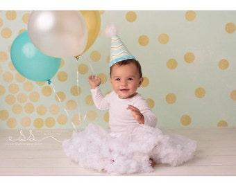 Birthday Party Hats, Girls Party Hat, Birthday Hat, Smash Cake, Onederland, First Birthday Hat, Birthday Photos, Aqua Party Hat, Baby Girls