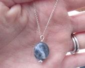 "6th Third Eye Chakra Sodalite Gemstone Pendant, Sterling Silver Necklace 18"", Chakra Energy Balancing Jewelry"