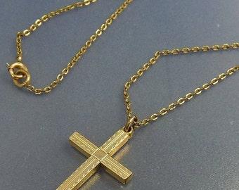 Vintage Art Deco Gold Filled Cross Pendant Necklace