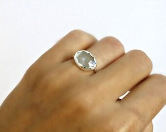 Aquamarine Ring Scalloped Bezel Set Spirit Of The Sea Ring Statement Ring Handmade Sterling Silver Ring