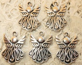 5 Antiqued Silver Angel Fairy Christmas Goddess God Charms Pendants Symbols