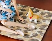 Animal Leopard Print Area Rug for Blythe Momoko Pullip Barbie Fashion Royalty Doll House