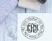 Custom Monogram Stamp, Wooden Stamp, Self Inking Stamp, Wedding Gift, Monogram Address Stamp, Interlocking Monogram, Vine Monogram