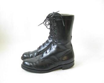 Vintage 70's Military Black Combat Boots. Size 9 1/2 Women's