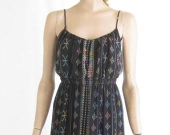 Vintage Silk Sheer Boho Maxi Dress. Size Small