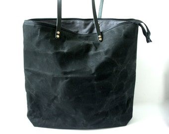 Black Bag, Waxed Canvas Tote Bag, Zippered Tote Bag, Zippered Purse