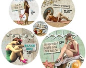 """Digital Collage Sheet, Circle images, At the Beach 5 Sizes 1"""", 2"""", 2.25"""", 2.5"""", 3"""" (Sheet no. FS236) Instant Download"""
