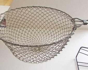 Vintage Wire Mesh Short Handle Industrial Collapsible Basket, Strainer, Sieve, Kitchen Decor, Wall Hanger
