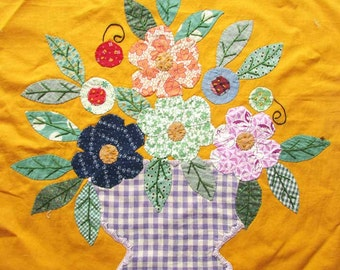Vintage 19430-40  Large 17 In  Folky Flower Pieced, Embroidered, Applique Quilt Square, Hand Stitched, Feed Sack Fabrics, Quilt Art Square