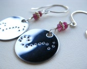 Constellation Zodiac Circle Charm Earrings with Birthstone